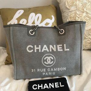 Chanel small grey deauville tote SHW